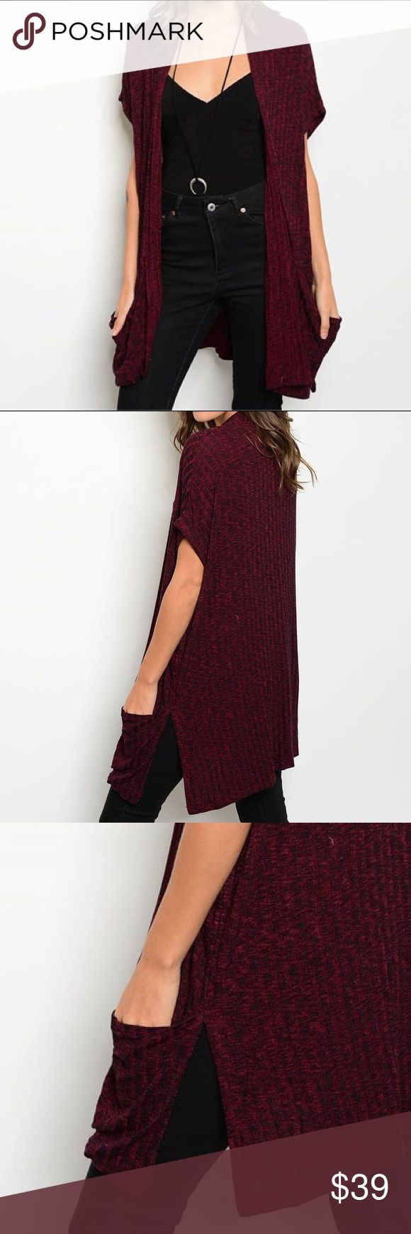 ✨NEW✨Wine Split Pocket Long Cardigan Long sleeve round neck striped slub knit top with lace trim. Spandex blend. Sweaters Cardigans