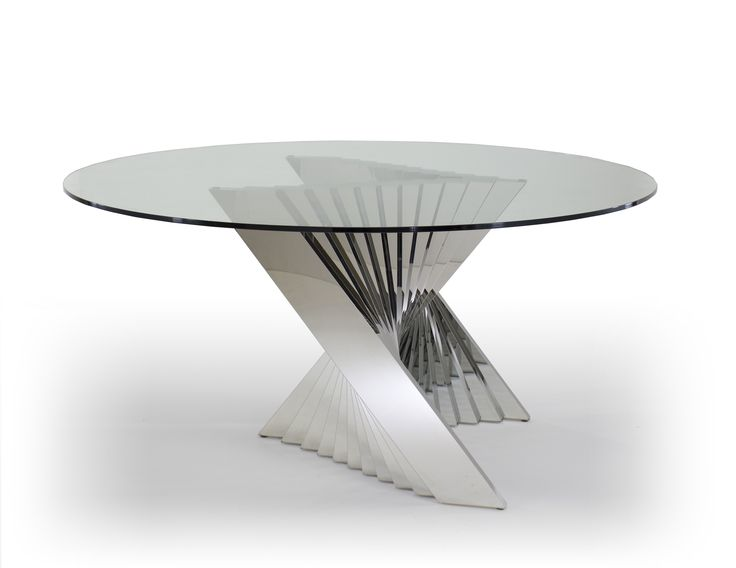 Ace dining table round glass top and metal base dining for Unusual round dining tables