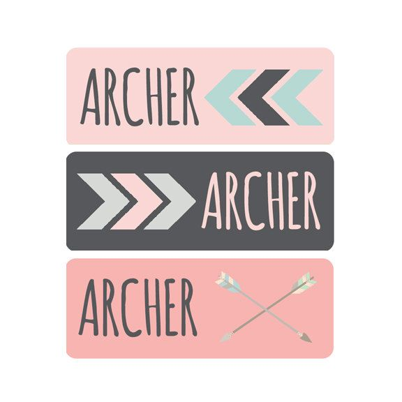Girl Name Labels, Baby Bottle Labels, Daycare Labels, Name Labels, Personalized Waterproof Labels, Waterproof Label, Tribal Arrow by ModishCC on Etsy