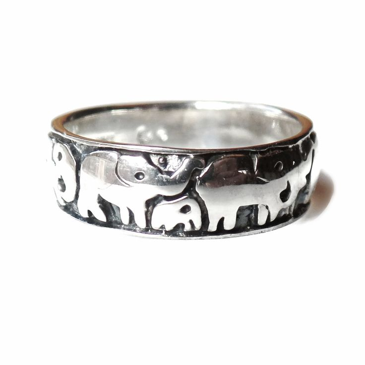 Sterling Silver Polished And Antiqued Elephants Ring – Sparkle & Jade