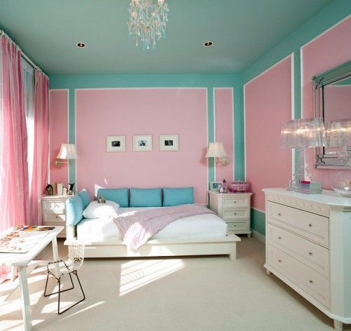 chic: Colors Combos, Turquoise Room, Little Girls Room, Girls Bedrooms, Tiffany Blue, Room Ideas, Pink Wall, Cotton Candies, Pink Bedrooms