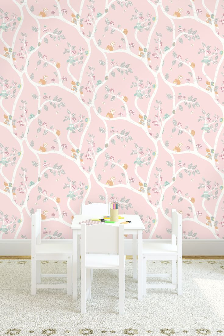 Cute wallpaper pattern featuring a trailing tree and woodland creatures, with glitter detailing.