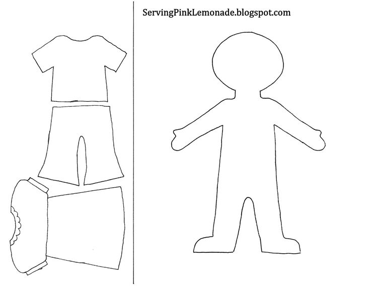 Template for girl and clothes also mailbox tree for for Felt dress up doll template