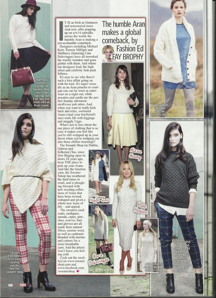Natural Merino Aran Cable Poncho  (worn with red check trousers)  by Irelands Eye Knitwear featured in the Sunday World Magazine.