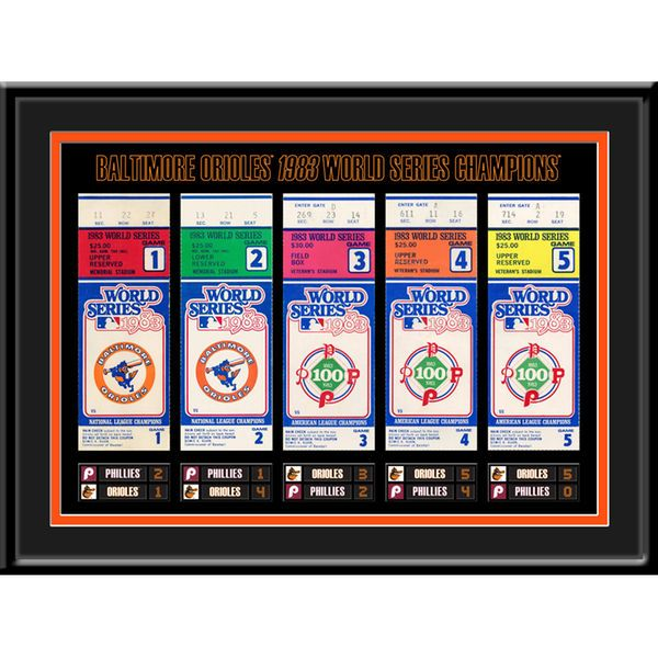 """Baltimore Orioles 16"""" x 12"""" 1983 World Series Tickets To History Framed Print - $44.99"""