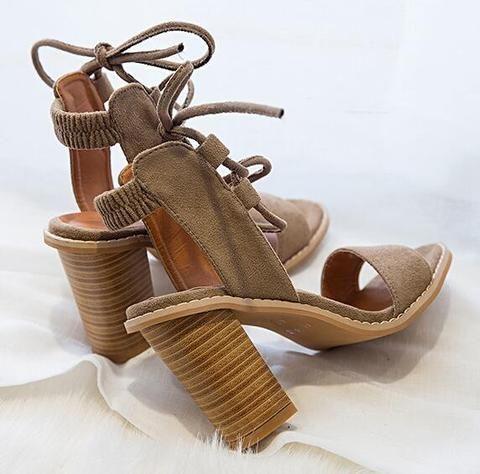 Open Toe Lace up Heels Sandals  Women's Summer Fashion Sandals Heels Shoes