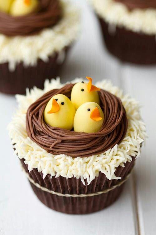 Cupcakes de pollitos  (idea) Chicks Easter cupcakes