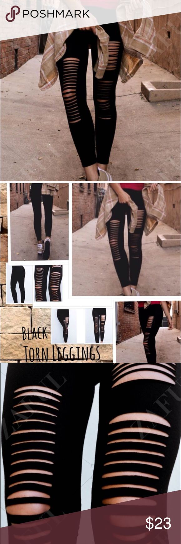 🆕RESTOCKED NEW LISTING BLACK TORN LEGGINGS 🆕 Basic black one size fits most leggings with cut outs. Nice stretch. These are very popular. these leggings do not disappoint, extremely cute but not over done. High waisted, 100% cotton material and casual trendy style. Great stretch for such desired comfort. Fits best small and medium. Large might be slightly tight but still very stretchy smooth soft material. Laying flat, 10/2 inches wide. 25 inch inseam. BN Still in online bag Pants Leggings