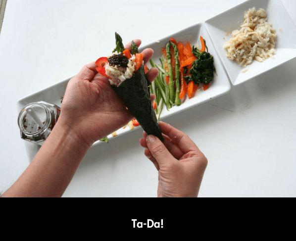 How to make sushi temaki handrolls ~ http://steamykitchen.com