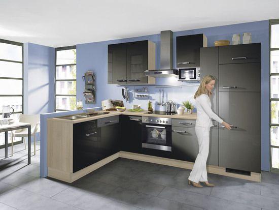 Winkelküche ip 2800 quarzgrau akazie •• aktuelle einbauküche die 2 separaten küchenelemente ermöglichen
