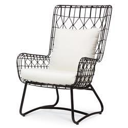 Chloe Modern Classic Salt Black Steel Outdoor Wing Chair