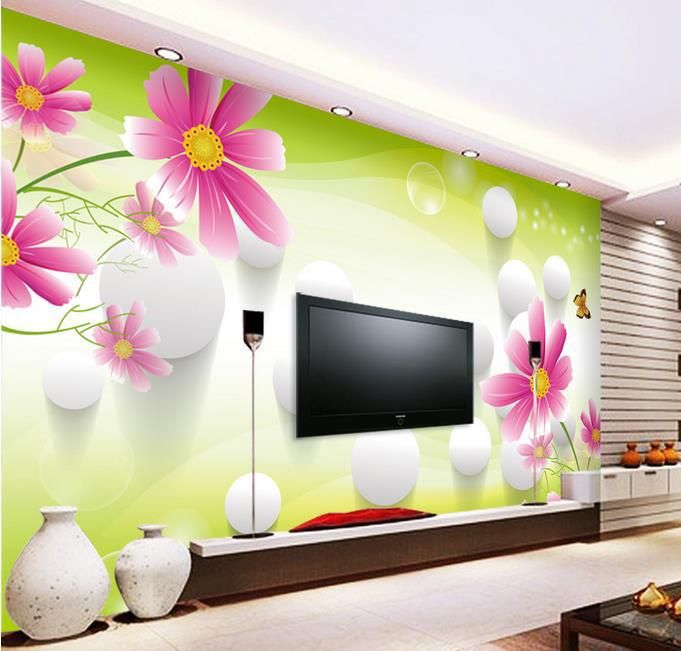 3d stereoscopic tv wall murals living room sofa background for Nature wallpaper for living room