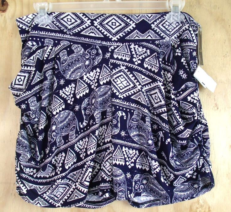 SHOSHO Sz 18 1X Tribal Elephant Knit Pocket Harem Blue White Pull-On Shorts  | eBay