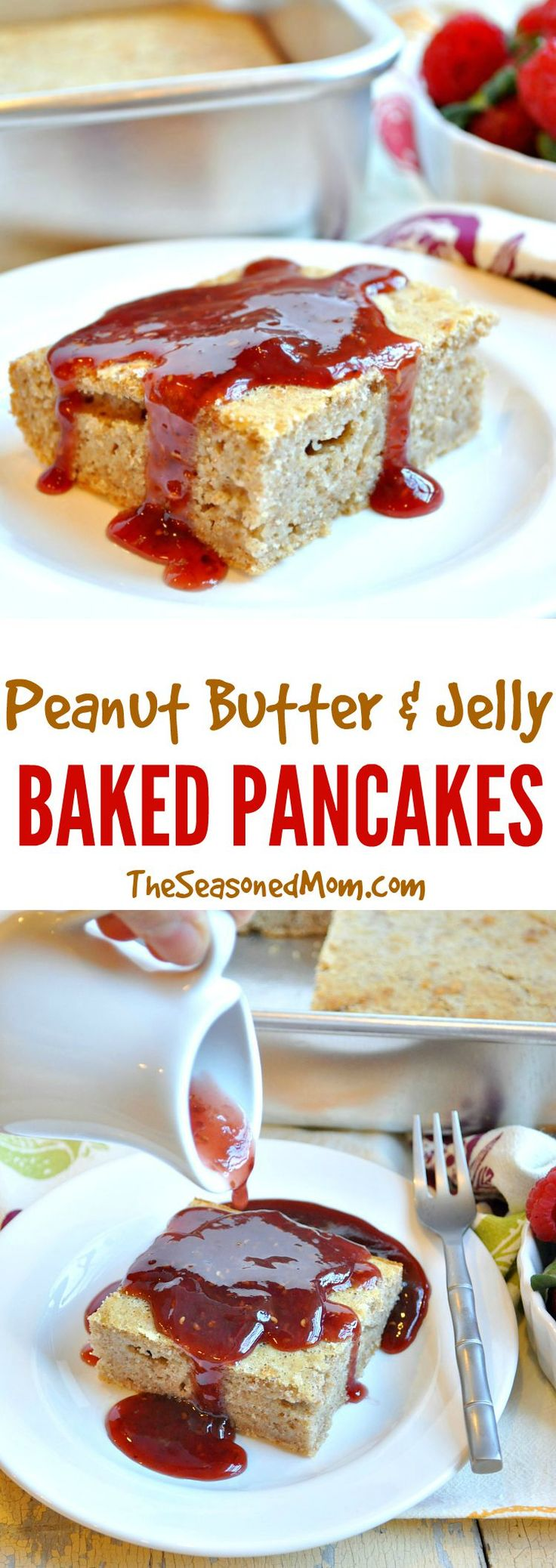 Peanut Butter and Jelly Baked Pancakes are the easiest way to prepare pancakes for a crowd! A nutritious whole grain peanut butter batter is baked in the oven, sliced into squares, and topped with raspberry jam syrup. They're a great make-ahead and freezer-friendly breakfast option for busy days! #MyPBJMoment #ad @smuckersrecipes