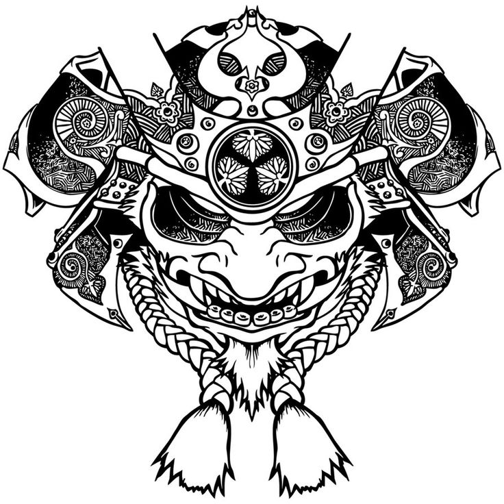 Crossed the face of an Oni and a samurai helm, for a shirt design. PhotoShop Wacom