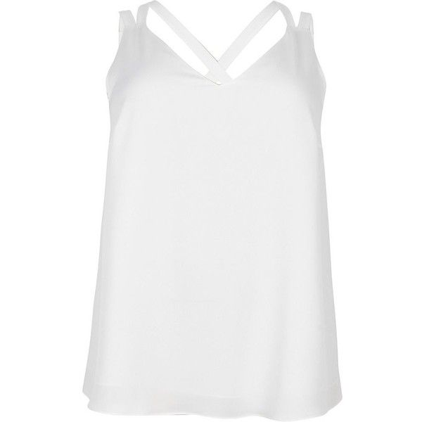 River Island Plus white back double strap cami top (200 HRK) ❤ liked on Polyvore featuring tops, cami & sleeveless tops, white, women, white v neck camisole, plus size white tank top, v neck cami, white camisole and plus size cami