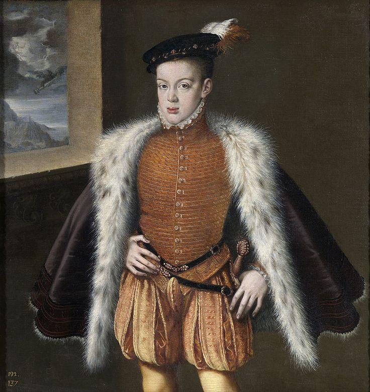 ca. 1555-1557 - Alonso Sanchez Coello, Prince Don Carlos of Spain wearing doublet  Alonso Sánchez Coello -   Retrato del príncipe de Asturias Carlos de Austria, que fue el hijo primogénito del rey Felipe II de España y de la reina María Manuela de Portugal, primera esposa de Felipe II.
