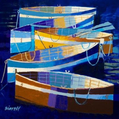 Rowing Boats by Scottish Contemporary Artist George BIRRELL