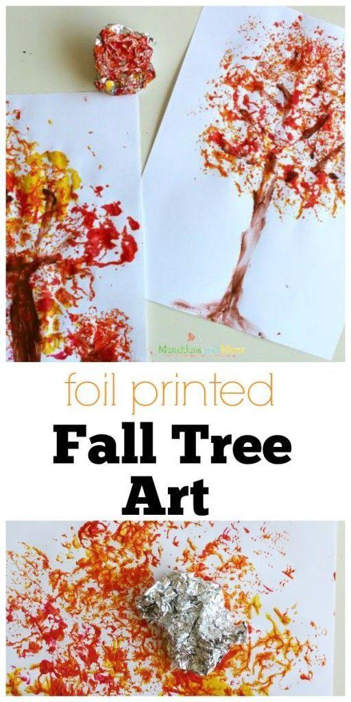 Foil Printed Fall Tree Art- a great preschool art project!