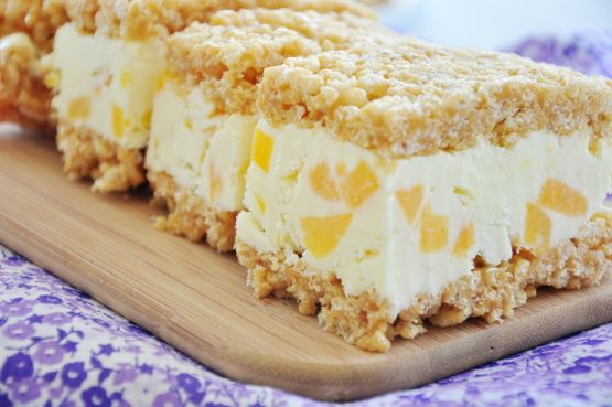 A favorite for children and grown ups alike. A combination of corn syrup, peanut butter, and Rice Krispies with your choice of ice cream or yogurt sandwiched in between.