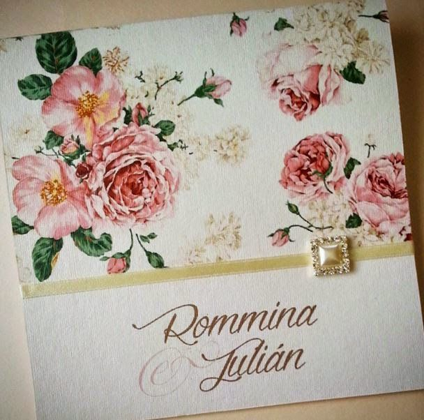Floral wedding invitation pink + pearl