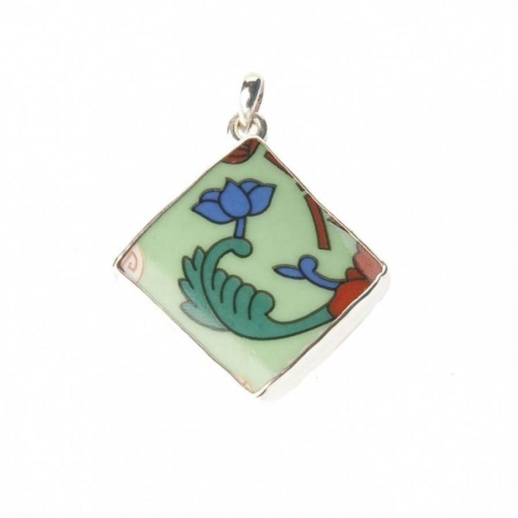 Lucky Buddha sieraden | Studio Art Styles | Hanger | Lucky Buddha Green tile pendant | handmade in Nepal