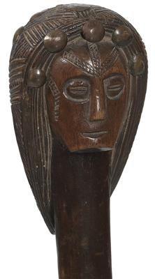 Ovimbundu (or Mbundu), Angola: A rare chieftain's sceptre of the Ovimbundu with a finely carved woman's head.