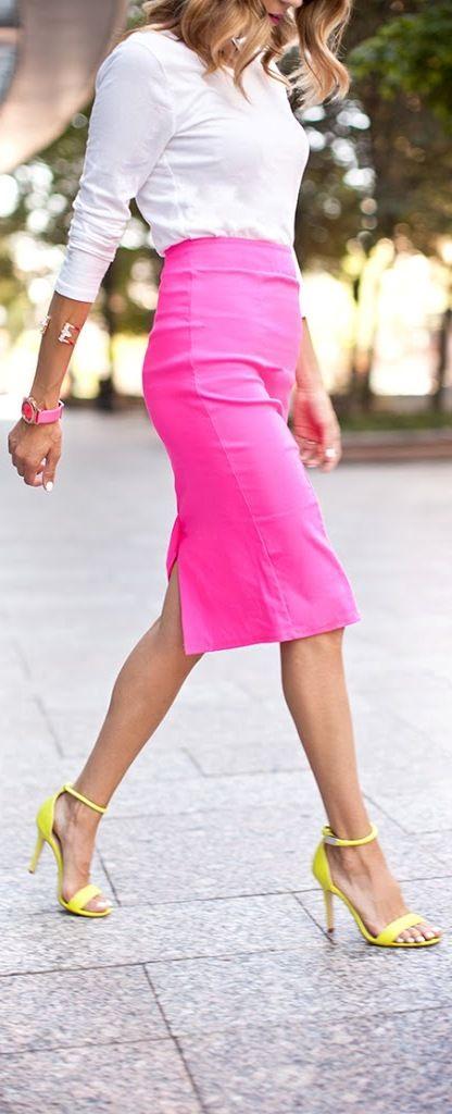 Neon pink pencil skirt