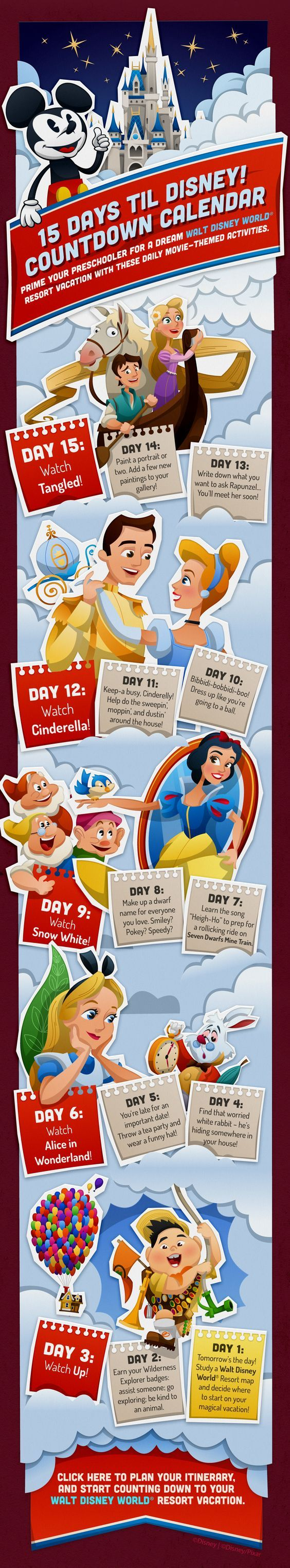 This is a handy dandy countdown calendar for your next Walt Disney World vacation.  Our Laughing Place Travel is here to help plan your vacation from the start because at OLP Travel we put the Pixie Dust in Concierge Service!  #olptravel