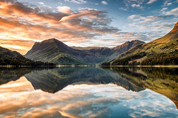 Buttermere - Fleetwith Pike and Haystacks reflection, topped off with a gorgeous sunrise. Lake District, Cumbria, England. | by PaulBullen on 500px