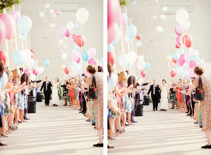 LOVE the idea of a balloon exit! With pretty colors! Makes for gorgeous photos!