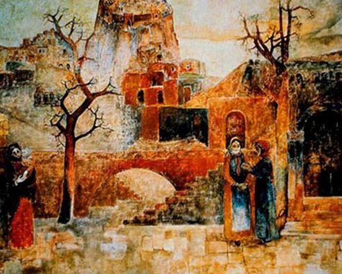 """Հայաստանն արվեստում Մինաս Ավետիսյանի """"ՀԱՅԱՍՏԱՆ"""" որմնանկար (1973) Այն ունի հանրապետական նշանակության հուշարձանի կարգավիճակ: Մինաս Ավետիսյանի «Հայաստան» որմնանկարը Շիրակի մարզում է գտնվում, Վահրամաբերդ գյուղում: Այն ստեղծվել է Մինասի կողմից 1973 թվականին տեղի Մշակույթի տան պատին:  Վահրամաբերդի մշակույթի տանը գտնվող Մինաս Ավետիսյանի «Հայաստան» որմնանկարը հեղինակի կողմից ստեղծած որմնանկարների շարքի լավագույն գործերից մեկն է: 1988թ. մշակույթի պալատը փլվել էր ավերիչ երկրաշարժից, սակայն…"""