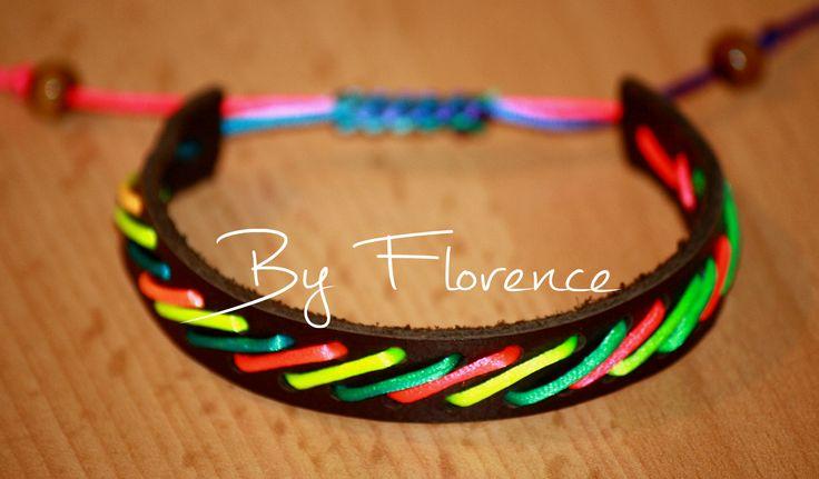 Bracelet - Rainbow cord & leather. Armbandje - Regenboogkoord & leer. € 6,95