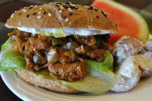 Vegan BBQ Sandwich-soy curls-RECOM BY HHL-use with isa mosk..slaw from appetite for reduction