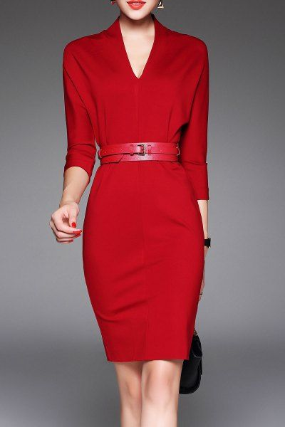 Shop joy&joso red v neck belted work dress here, find your knee length  dresses at dezzal, huge selection and best quality.