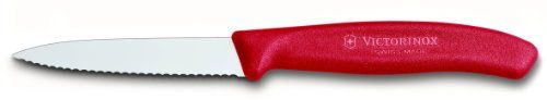 "Victorinox Swiss Classic 3 1/4"" Paring Knife, Spear Tip, Serrated, Red"