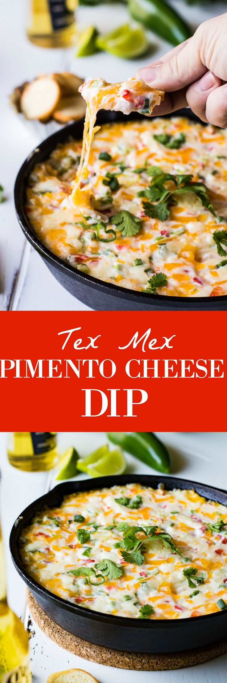 Tex Mex style Hot Pimento Cheese Dip is the ultimate in hot cheese dip recipes!  Loaded with sweet pimento peppers, ja...