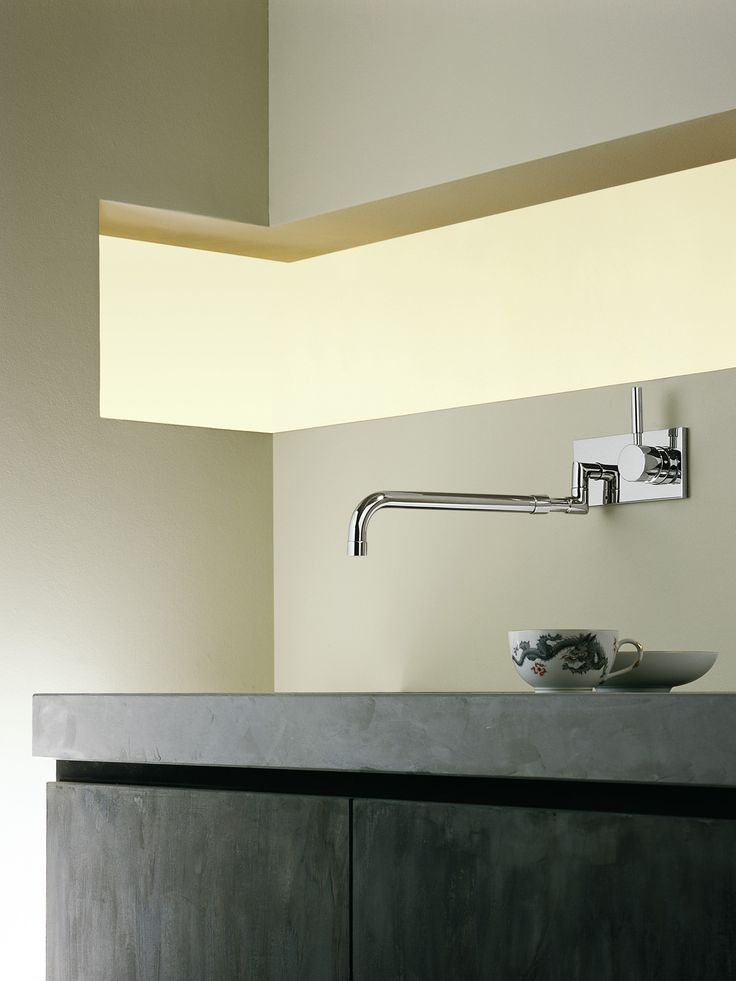 Stylish wall mount kitchen faucet by Dornbracht / Meta.02 Collection