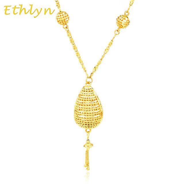 Eritreia Etiópia Ethlyn Nova Colares de Ouro mulheres jóias 18 K Banhado A Ouro colar de Pingente de Presente da Festa de Natal jóias N021