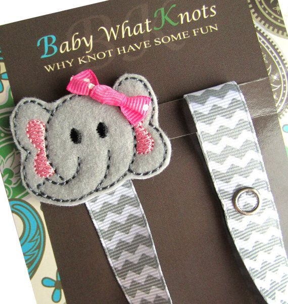 Pacifier Clip Girl Elephant Pacifier Clip by BabyWhatKnots on Etsy