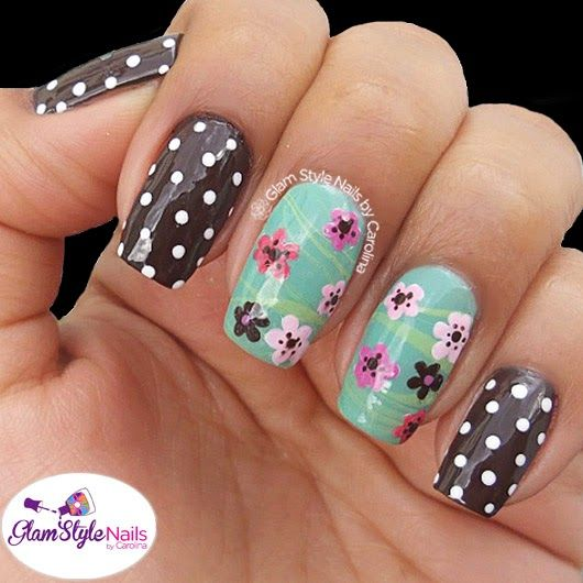 PINK FLOWERS WITH WHITE DOTS by @glamstylenailsc