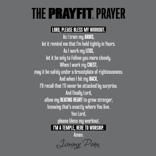 Prayer before workout. I am a temple. Here I am to worship ...