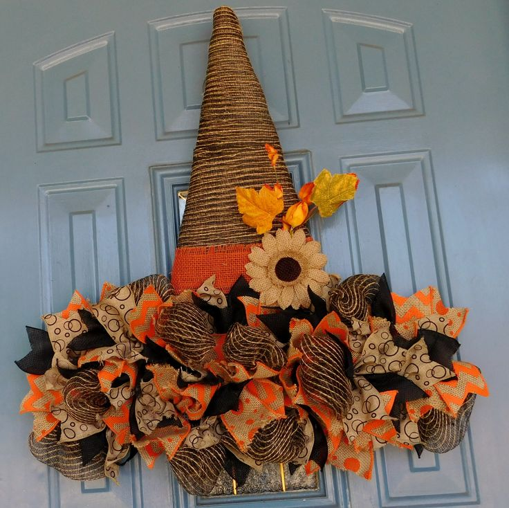 Rustic Deco Mesh Witch's Hat with Ribbon Brim and Burlap Flower, Front Door Wreath, Halloween Wreath, Fall Wreath, Witch's Hat Deco Mesh by TwoRoadsDivergedShop on Etsy