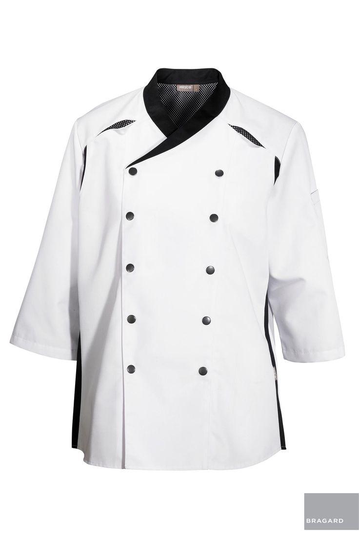 MODICA CHAQUETILLA DE COCINA BLANCO Chaquetilla de cocina mixta, adornos en negro, botones Automáticos, mangas 3/4, bolsillo para el bolígrafo en la manga izquierda Largo de 72,5 cm 67% poliéster, 33% algodón, blanco