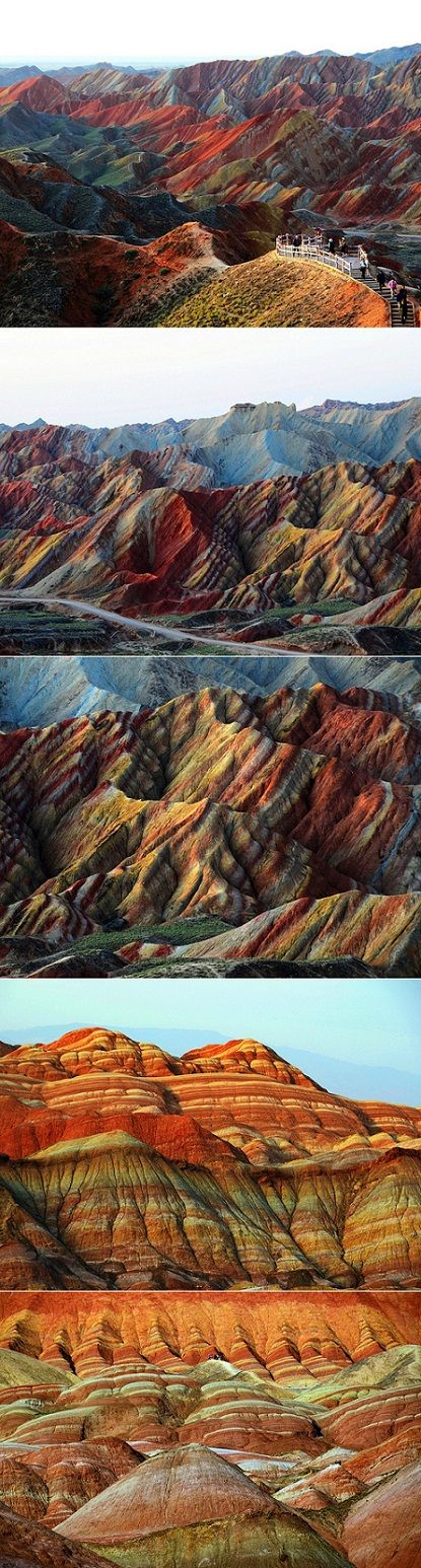 China's Rainbow Rocks - The incredible colours of those rocks resulted in millions of years of orogenic movement, structural deformations, water flow fissures and oxidization.