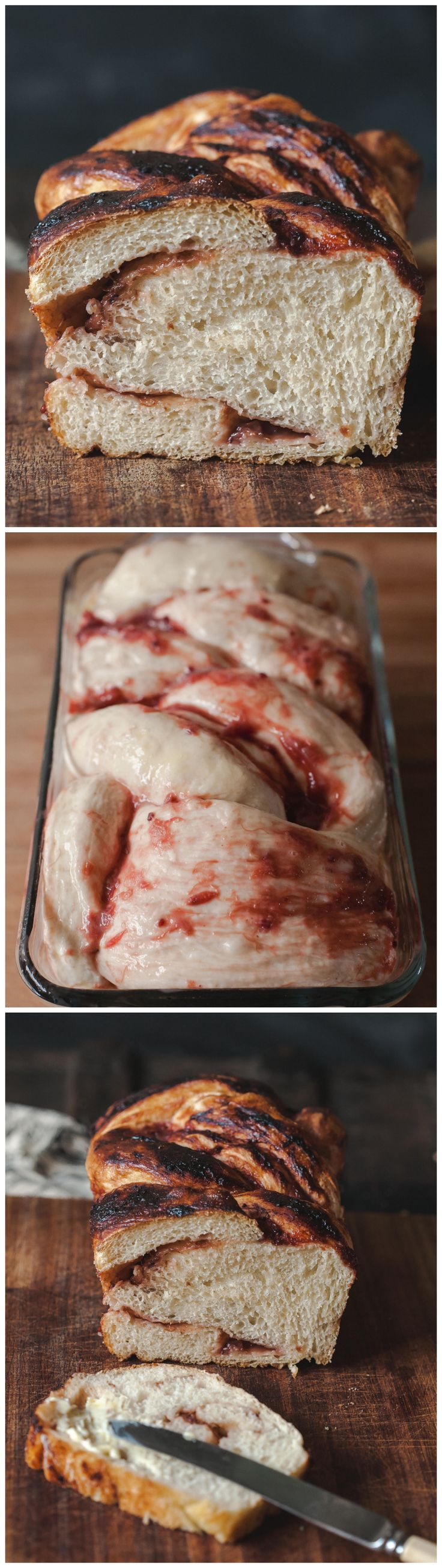 This bread takes half of the time of most yeasted breads. Swirled with tart rhubarb and red currants it could be used for both sweet and savoury toppings.