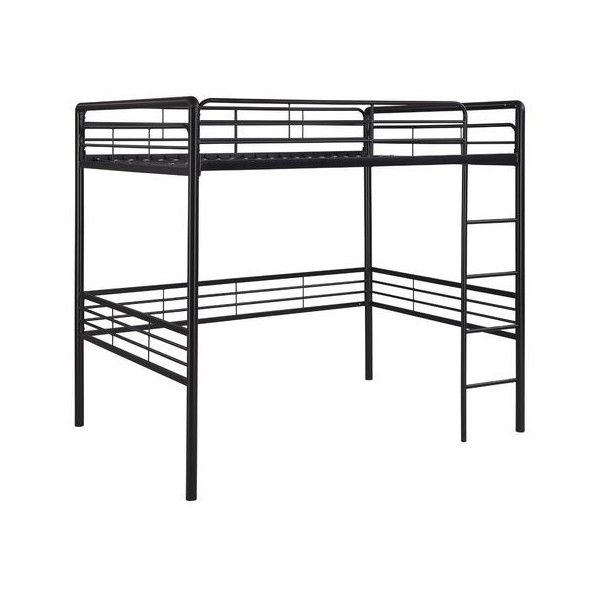 Full size Contemporary Black Metal Loft Bed with Ladder ❤ liked on Polyvore featuring home, children's room and children's furniture
