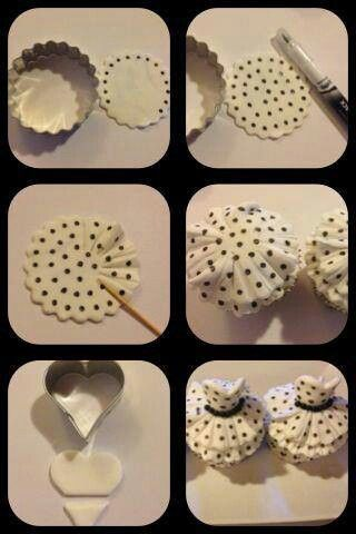 black and white dresses on cupcakes