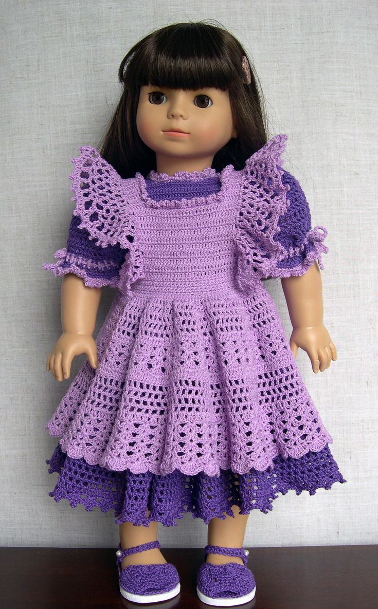 """18 inch Doll Clothes  Handmade outfit made to fit 18"""" dolls like American Girl (AG) and Gotz  Tess is modeling this crochet dress and pinafore made from a vintage baby pattern (""""Delicate Dresses"""")   I used #10 thread and a smaller hook instead of yarn With a few simple adjustments it fits great Sandals are also from an infant pattern         ( """"Booties by the Dozen"""" )"""