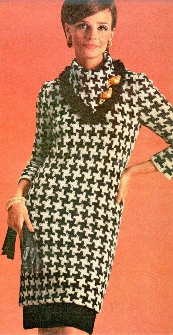 Vintage 1960s Boho Dress Hipster Knitted Houndstooth Tunic Pattern PDF 6614 Size 12 14 16  Bust 32 34 36 Size M L XL Medium Large Extra Mod